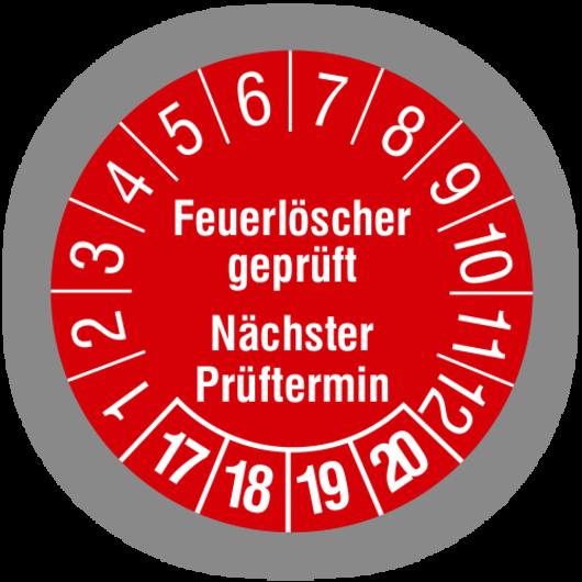 Prüfplakette eines geprüften Feuerlöschers als Bild auf Homepage von GSS Safety Solutions - Gerd Gruber - Brandschutzbeauftragter aus Abenberg. Aktiv im Großraum Nürnberg / Fürth, Schwabach, Roth, Windsbach, Ansbach, Landkreis Roth